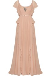 Elie Saab Belted Pleated Silk Georgette Gown Antique Rose