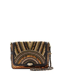 Mary Frances In The Know Beaded Shoulder Bag Blk Gld