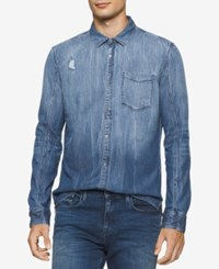Calvin Klein Jeans Clavin Men's Ripped And Repaired Denim Shirt Destructed Night
