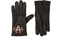 Gucci Men's Angry Cat Embroidered Leather Gloves Black