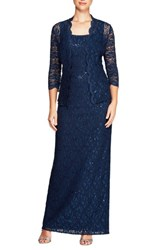 Alex Evenings Lace Column Gown With Jacket Navy