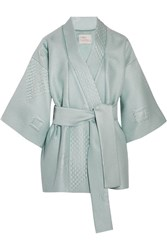 Hillier Bartley Quilted Jacquard Kimono Mint