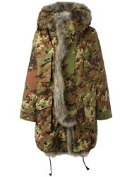 Dsquared2 Fur Trim Camouflage Parka Green