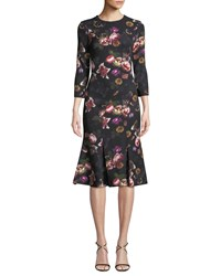 Theia Floral Butterfly Brooch Dress Black
