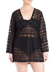 J Valdi Plus Vintage Lace Tunic Cover Up Black