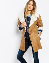 Blend She Sheapa Faux Shearling Jacket Brown