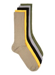 Topman Multi Assorted Colour Ribbed Textured Socks 5 Pack
