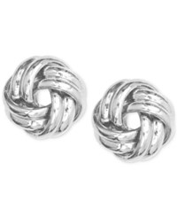 Anne Klein Silver Tone Knot Stud Earrings