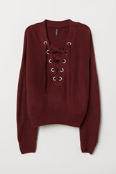 Handm Knit Sweater With Lacing Red