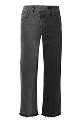Monse Two Tone Distressed Mid Rise Straight Leg Jeans Charcoal