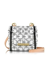 Vionnet Mosaic 15 Orchid White And Black Puzzle Print Leather Micro Crossbody Bag