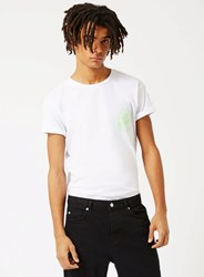 Topman White And Lime Neon Puff Print Muscle Fit Roller T Shirt