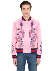 Gucci Embroidered Silk Satin Bomber Jacket