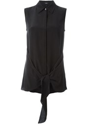 Theory Belted Sleeveless Shirt Black