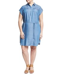 Vince Camuto Short Sleeve Tencel Chambray Shirtdress Multi