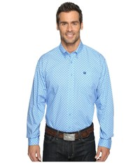 Cinch Long Sleeve Plain Weave Print Light Blue Men's Clothing