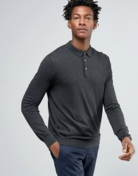 Kiomi Knitted Polo Shirt With Long Sleeves Dark Grey Melange