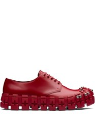Prada Studded Chunky Derby Shoes Red
