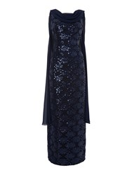 Tahari By Arthur S. Levine Asl Sequin Gown With Chiffon Cape Navy