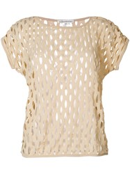 Stefano Mortari Perforated T Shirt Nude And Neutrals