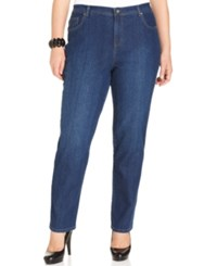 Styleandco. Style And Co. Plus Size Tummy Control Straight Leg Jeans Aged Indigo Wash