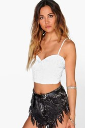 Boohoo Floral Lace Bustier White