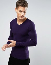 Asos V Neck Jumper In Muscle Fit Misfit Purple