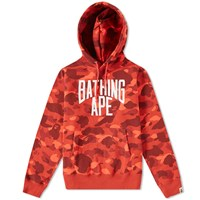 A Bathing Ape Colour Camo Nyc Logo Pullover Hoody Red