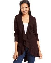 Style And Co. Long Sleeve Ruffle Trim Cardigan Espresso Bean