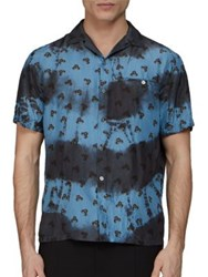 Lanvin Tie Dye Silk Shirt Blue
