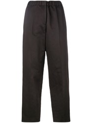 Jil Sander Straight Cropped Trousers Women Cotton Linen Flax Spandex Elastane Cupro 36 Brown