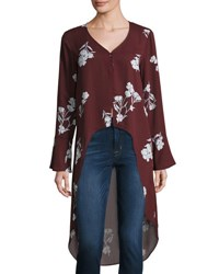 19 Cooper Floral Print High Low Long Sleeve Top Dark Red