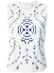 Tory Burch Embroidered Sleeveless Top White