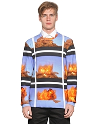 Frankie Morello Explosion Printed Cotton Sweatshirt Blue Multi