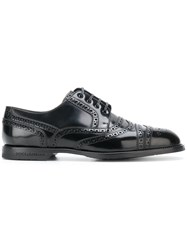 Dolce And Gabbana Brogue Derby Shoes Calf Leather Rubber Leather Black