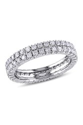 14K White Gold Pave Diamond Eternity Ring 1.00 Ctw Metallic