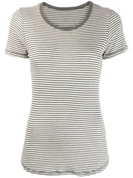 Majestic Filatures Striped T Shirt Grey