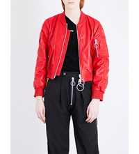 Off White C O Virgil Abloh Woman Leather Bomber Jacket Red White