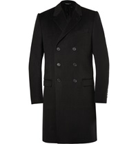 Dolce And Gabbana Double Breasted Wool And Cashmere Blend Overcoat Black
