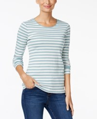 Charter Club Striped Top Only At Macy's Dusted Aqua Combo