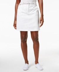 Karen Scott Belted Denim Skort Only At Macy's Bright White