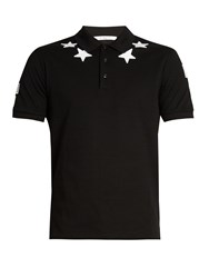 Givenchy Cuban Fit Star Applique Polo Shirt Black Multi