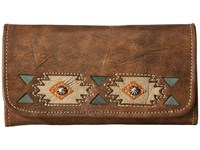 American West Native Sun Trifold Wallet Distressed Charcoal Brown Sand Golden Tan Turquoise Wallet Handbags