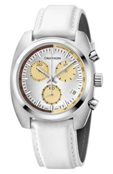 Calvin Klein Achieve Chronograph Leather Band Watch 43Mm White Silver