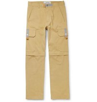 Eye Loewe Nature Convertible Leather Trimmed Cotton Canvas Cargo Trousers Beige