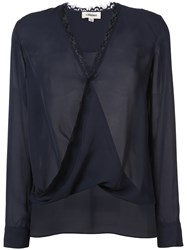L'agence Twisted Effect V Neck Blouse Women Silk Xs Blue