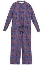Stella Jean Smocked Printed Cotton Blend Jumpsuit Blue