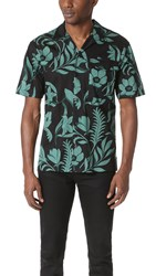 Ami Alexandre Mattiussi Flower Print Short Sleeve Shirt Black Green