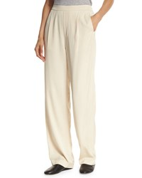 Vince Pleated Crepe Pull On Trousers Bleached