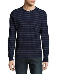 Lucky Brand Long Sleeve Striped Henley Shirt Indigo
